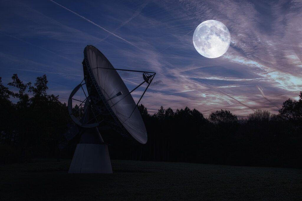 moon, radio telescope, astronomy